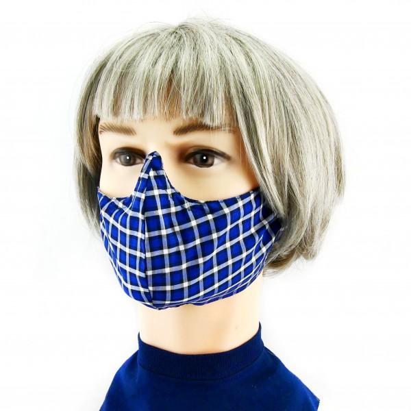 Stoffen Mondmasker -  Chequered blue/gray