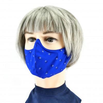 Stoffen Mondmasker -  Blauw met kleine accenten